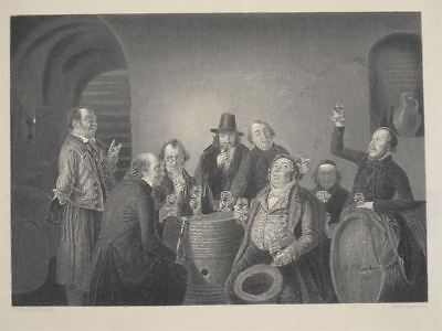 Weincommission - Stahlstich Payne Hasenclever - Sommelier Weinprobe Keller 1840
