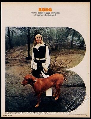 1970 Vizsla dog photo Borg fabric Town & Travel woman's coat vintage print ad