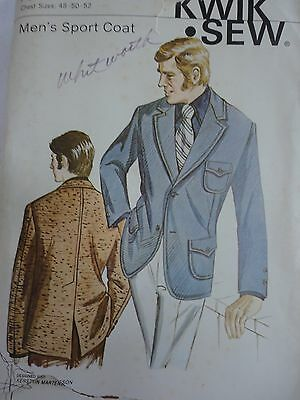 Men's 1970's Leisure Suit Jacket Pattern Kwik Sew Pattern Size 48 to 52 Inch
