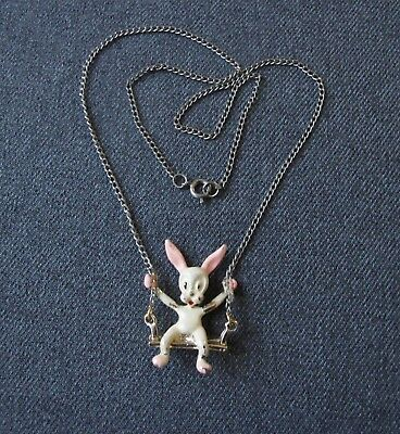 Vintage Rabbit Bunny On A Swing Painted Golden Metal Medallion Chain Necklace