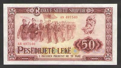 ALBANIA   50  LEKE  1964  Prefix AN  P.38   About Unc (light vertical fold)