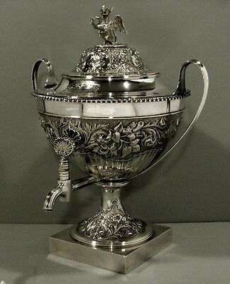 English Sterling Tea Urn   1792  Coat Arms Sawbridge         DRAGON      120 OZ.