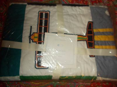 Pottery Barn Kids Airplane Crib Quilt, Toddler, Adorable, New,sold Out At Pbk