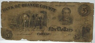 Chelsea Vermont BANK OF ORANGE COUNTY 1861 $5 Obsolete Currency