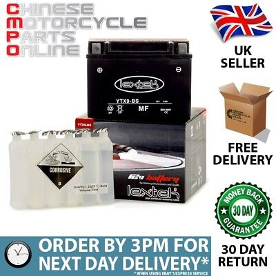 Lextek Motorcycle YTX9-BS YTX9BS Battery 152x88x106mm (YTX9BS)