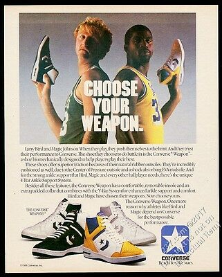 1986 Larry Bird Magic Johnson photo Converse Weapon basketball shoe print ad 1