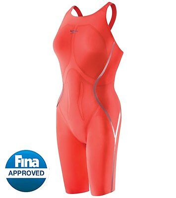 Speedo 22 LZR Racer X Open Back Kneeskin Swim Hot Coral TRIED ON ONCE NWT