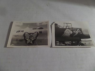 Lot of 2 WW2 Black and White Photographs Bomber Plane Nose Art Miss Hap Lot #8