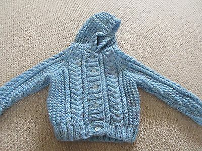 Brand New Hand Knitted Baby Aran Cardigan with Hood in Dusky Blue - 3 -6 months