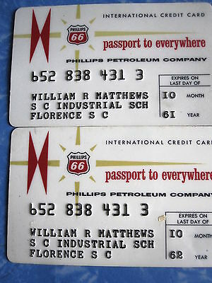 2 ~ PHILLIPS PETROLEUM COMPANY 1961 + 1962  Gas CREDIT CARDS ~ New Logo