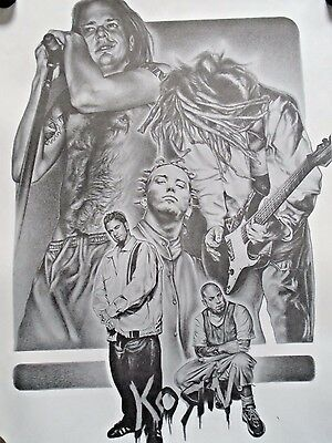 """KORN / Great B&W Art Print by Mike Duran / New condition / 17 1/2 x 22 1/2"""""""