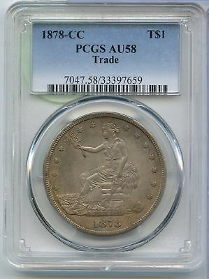 1878-CC Trade Silver Dollar T$1 PCGS AU 58 Certified Coin - Carson City - JX566