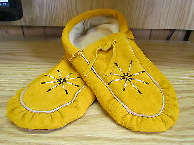 Traditional Northern Native American Moccasins 10.5 Inches Golden Sun Beadwork