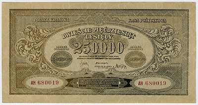 Poland 1923 Issue 250,000 Marek Banknote Superb Crisp Aunc.pick#35.