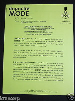 Depeche Mode 'Exciter Announced' 2001 Press Release
