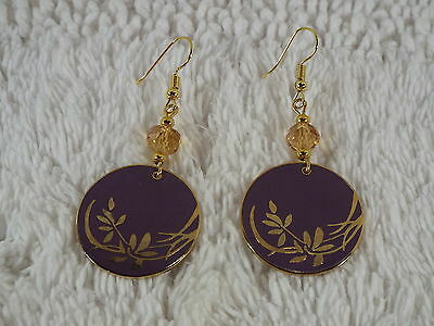 "LAUREL BURCH ""Wind Flowers"" Goldtone Lavender Pierced Earrings (B23)"