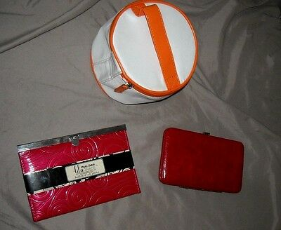 LOT of 3 - SLIM RED WALLET, RED PHOTO CLUTCH and ORANGE/CREAM TOTE / NEVER USED