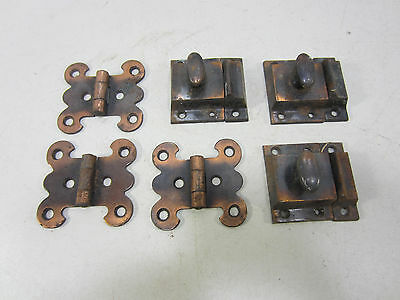 Vintage Lot of Japanned Steel Hinges & Cabinet Latches