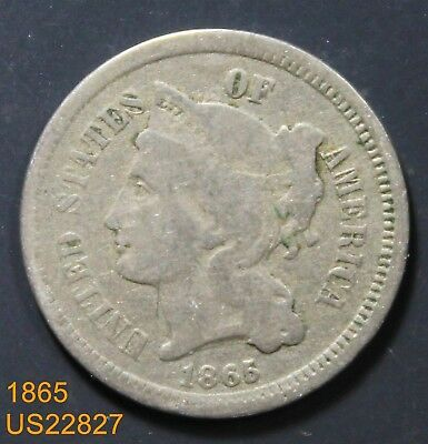 1865 3 Cents circulated coin