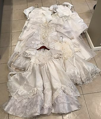 Lot of 6 Girls Communion Flower Girl White Formal Dresses Various Sizes