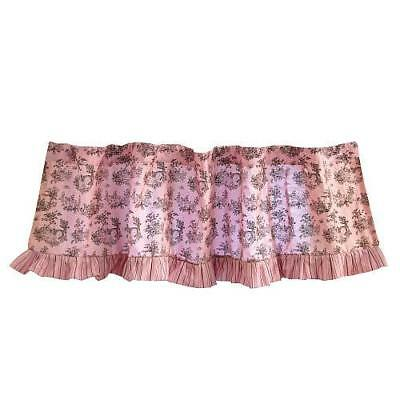 """Tadpoles Pink and Brown Toile Window Valance - 60"""" L x 16"""" W"""