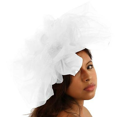 Big Tulle Mesh Feathers Fishnet Headband Fascinator Bridal Cocktail Hat White