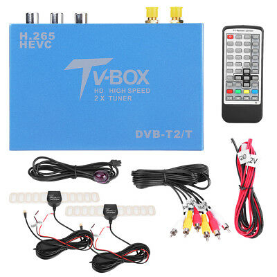 HD DVB-T DVB-T2 Car Auto Mobile Digital TV Box H.265 Receiver Dual Antenna Tuner