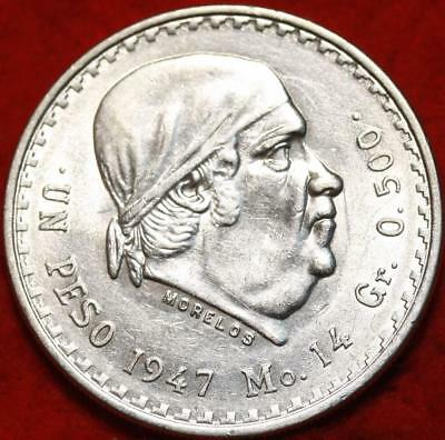 Uncirculated 1947 Mexico Peso Silver Foreign Coin Free S/H