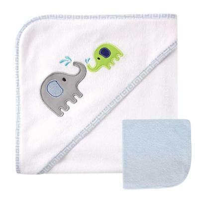 Luvable Friends Applique Hooded Towel and Washcloth Set - Elephant