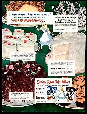 1951 SWANS DOWN Cake Mix AD Alice in Wonderland Baking Ideas Vintage Food
