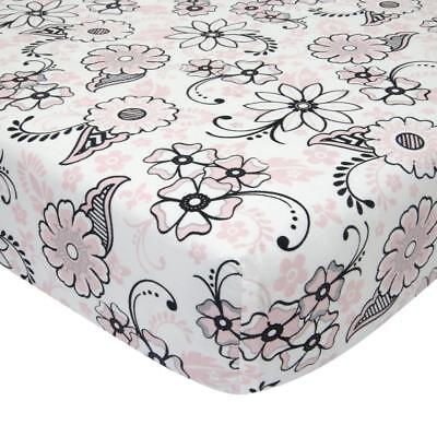 Lambs & Ivy(R) Duchess Pink/Black Floral Fitted Crib Sheet