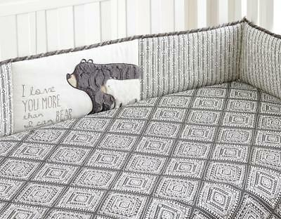 Levtex Baby Bailey Charcoal and White Arrow 4 Piece Crib Bumper