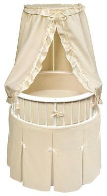 Badger Basket Elegance Round Baby Bassinet with Ecru Bedding