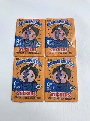 4 Packs Garbage Pail Kids Series 9 Stickers Trading Cards 1986 Topps Unopened