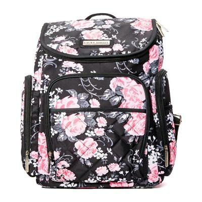 Laura Ashley 4-in-1 Floral Zip Around Backpack Diaper Bag - Black