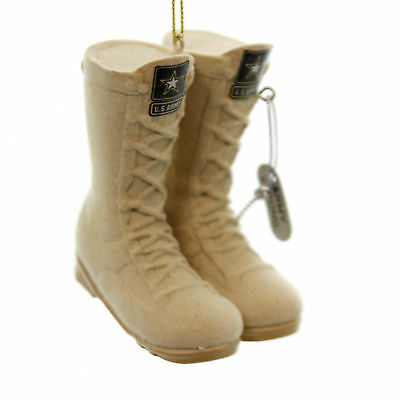 Holiday Ornaments ARMY FLOCKED COMBAT BOOTS Resin Christmas United States Am2111