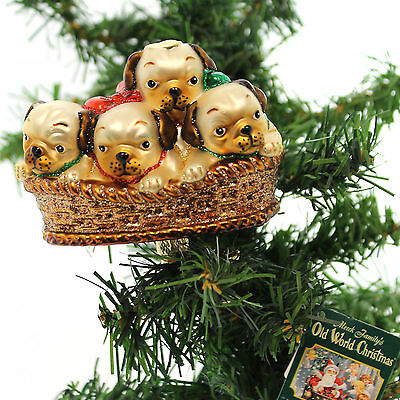 Old World Christmas PILE OF PUGGLES Glass Man's Best Friend Clip-0N 12434