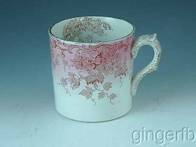 Victorian Wood & Hughs Decorated Mug Pink With  Flowers & Vines