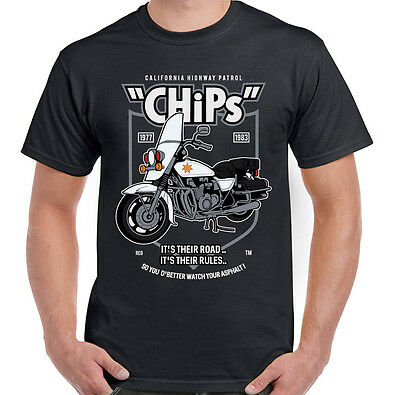Retro Chips TV Programme T-Shirt 70' 80's Classic Cult Police Show Motorcycle