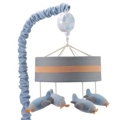 Lambs & Ivy Silver Cloud Gray/Blue Airplane Musical Mobile