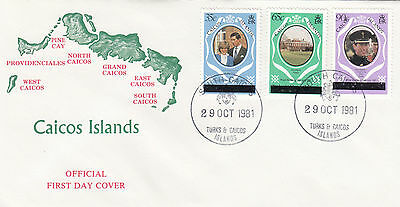 (03649) Caicos FDC Princess Diana Wedding OVERPRINT 29 October 1981