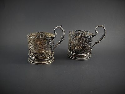 Two Antique Vintage Persain or Egyptian Silver Glass Holders Signed 262 Grams