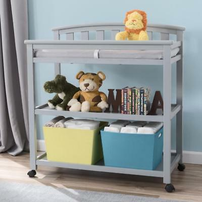 Delta Children Arched Changing Table with Casters - Grey