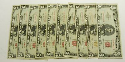 10 Circulated $5 Red Seal Five Dollar Notes: 1953, 1963