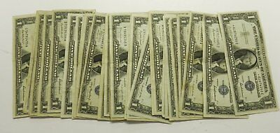 50 Circulated $1 Silver Certificates Notes: 1935, 1957 w/3 stars
