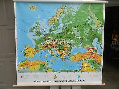 Rand McNally  Physical Political Europe Pull Down Map 50 x 50