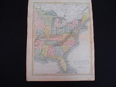 1836c Hall Map United States Wisconsin Michigan North West Territory 181 Yrs Old