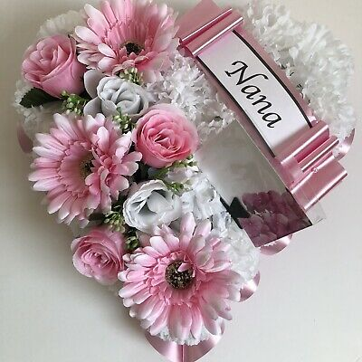 Heart Shaped Silk Artificial Funeral Flowers Wreath Grave Tribute Mum Nan Pink
