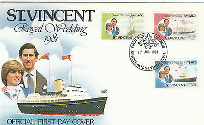 (03647) St Vincent FDC Princess Diana Royal Wedding 17 Jul 1981