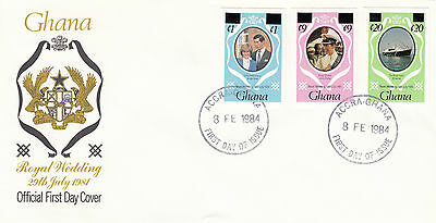 (03639) Ghana FDC Princess Diana Wedding IMPERFORATE OVERPRINT 8 February 1984